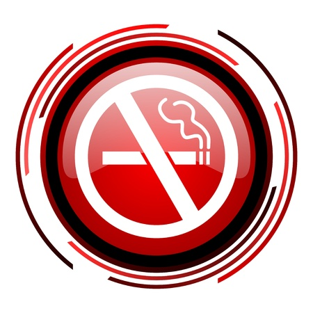 no smoking red circle web glossy icon on white background  photo