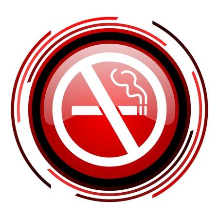 no smoking red circle web glossy icon on white background Stock Photo - 19640894