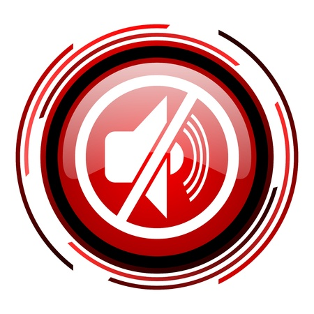 mute red circle web glossy icon on white background  photo