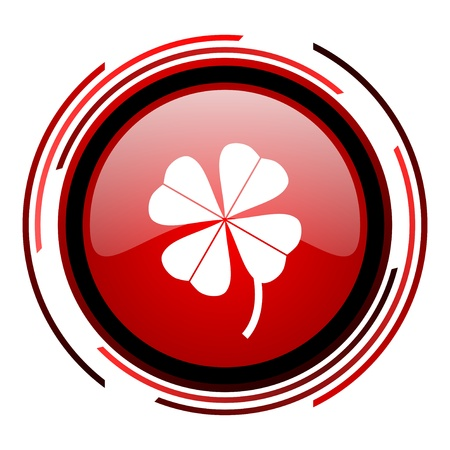 four-leaf clover red circle web glossy icon on white background  photo