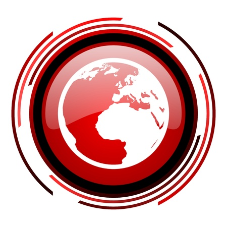 earth red circle web glossy icon on white background  photo