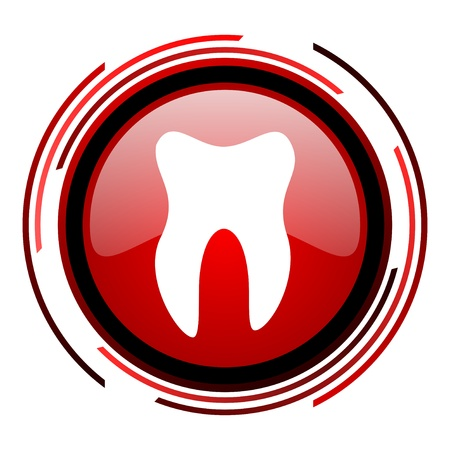 tooth red circle web glossy icon on white background  photo