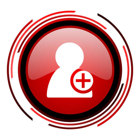 add contact red circle web glossy icon on white background  photo
