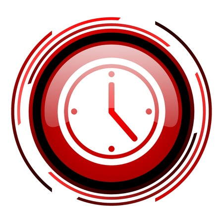 clock red circle web glossy icon on white background  photo
