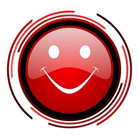 smile red circle web glossy icon on white background Stock Photo - 19640731