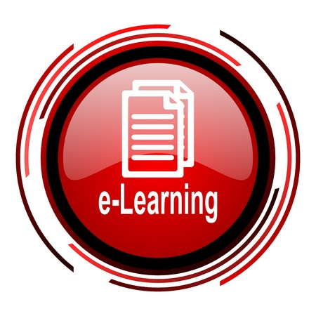 e-learning red circle web glossy icon on white background  photo