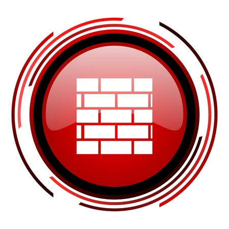 firewall red circle web glossy icon on white background  photo