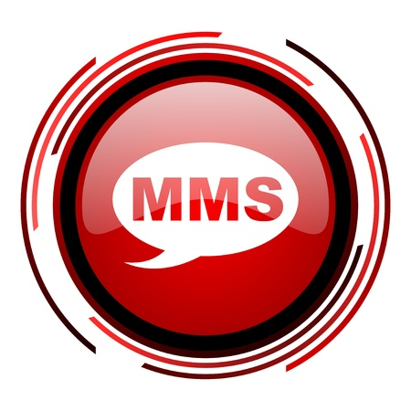 mms red circle web glossy icon on white background  photo