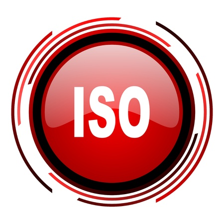 iso red circle web glossy icon on white background  photo