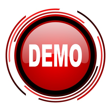 demo red circle web glossy icon on white background Stock Photo - 19640696