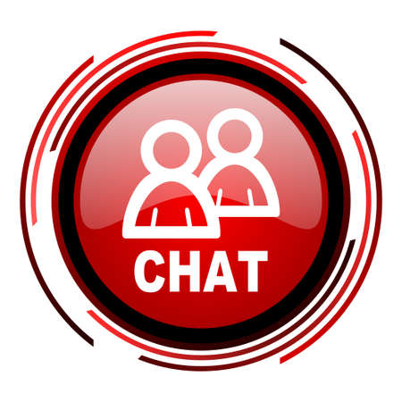 chat red circle web glossy icon on white background  photo