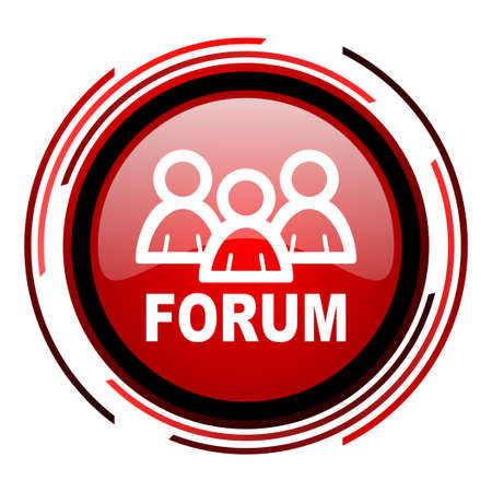 forum red circle web glossy icon on white background  photo