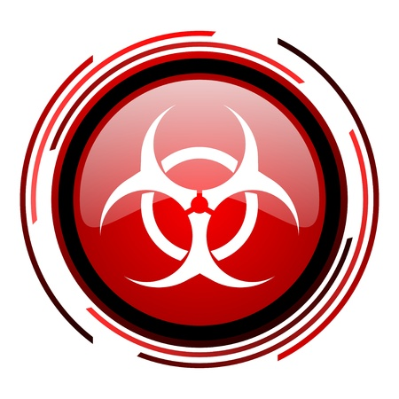 virus red circle web glossy icon on white background
