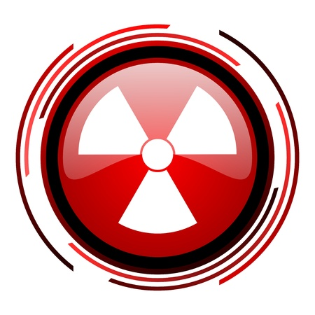 radiation red circle web glossy icon on white background