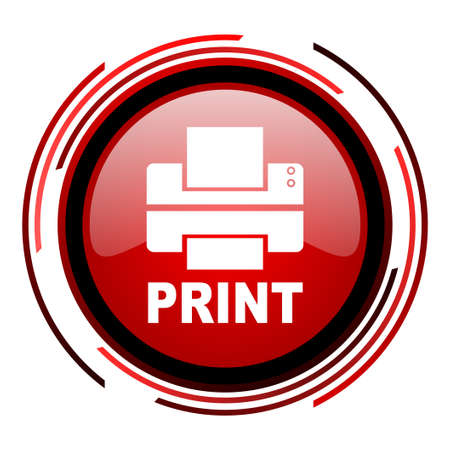 print red circle web glossy icon on white background  photo