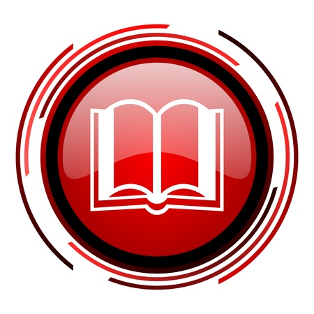book red circle web glossy icon on white background  photo