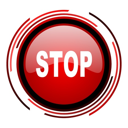 stop red circle web glossy icon on white background Stock Photo - 19640688