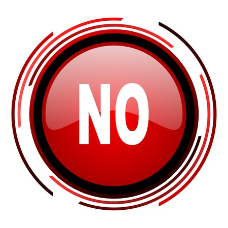 no red circle web glossy icon on white background Stock Photo - 19640622