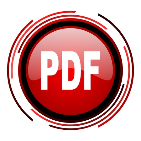 pdf red circle web glossy icon on white background  photo