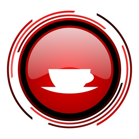 coffee cup red circle web glossy icon on white background  photo