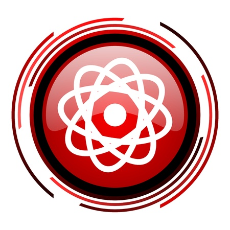 atom red circle web glossy icon on white background