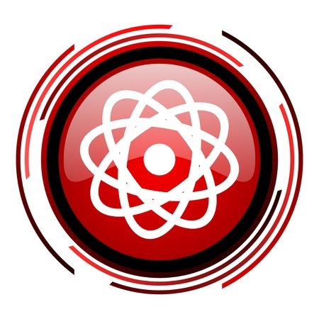 atom red circle web glossy icon on white background Stock Photo - 19640931