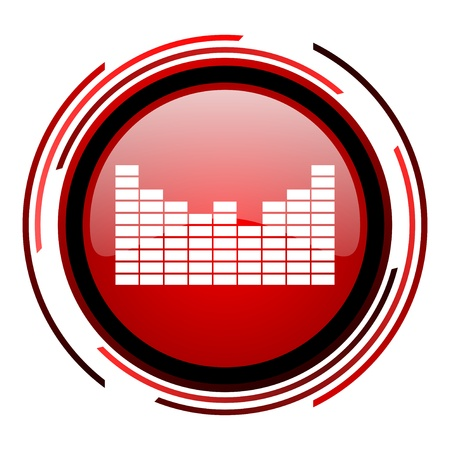 sound red circle web glossy icon on white background Stock Photo - 19640895