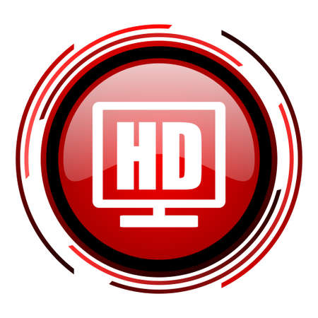 hd display red circle web glossy icon on white background  photo
