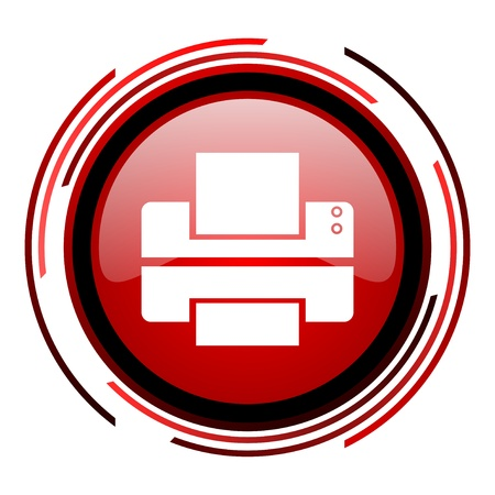 printer red circle web glossy icon on white background  photo