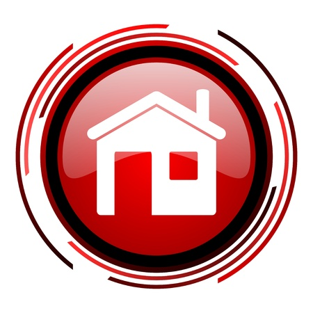 home red circle web glossy icon on white background  photo