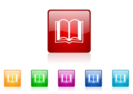 book quadrati web icone lucide impostate photo