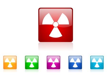 radiation square web glossy icons set Stock Photo - 19640522