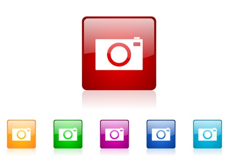 camera square web glossy icons set