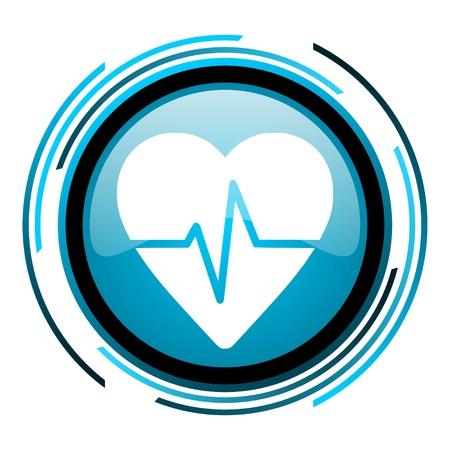 Puls blauen Kreis glossy icon Standard-Bild