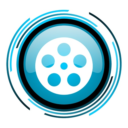 film blue circle glossy icon  photo