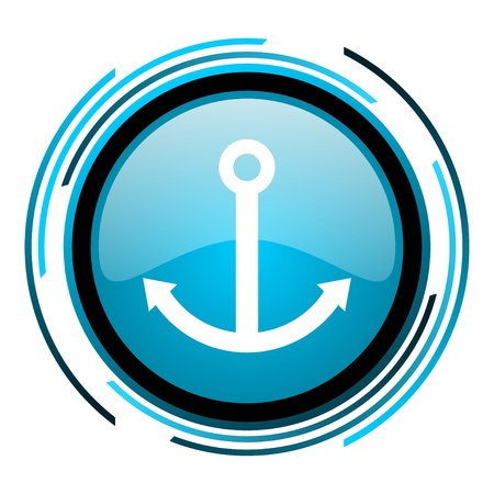 anchor blue circle glossy icon  photo