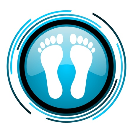 footprint blue circle glossy icon  photo