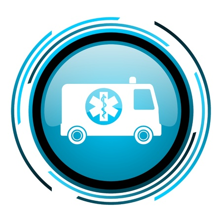 ambulance blue circle glossy icon  photo
