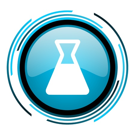 chemistry blue circle glossy icon  photo