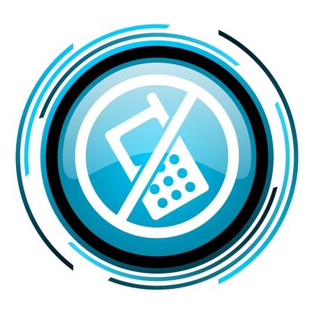 no phones blue circle glossy icon  photo