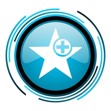 star blue circle glossy icon Stock Photo - 19705336