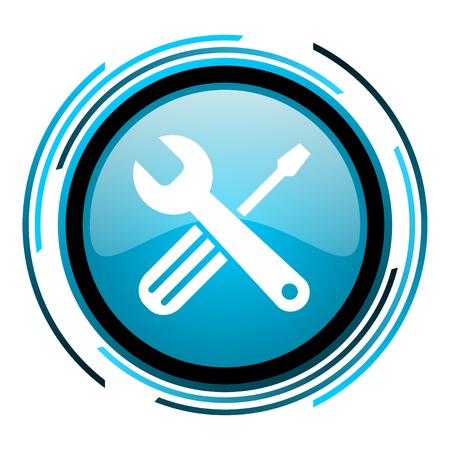 tools blue circle glossy icon  photo