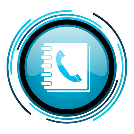 phonebook blue circle glossy icon  Zdjęcie Seryjne