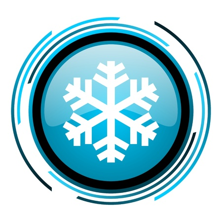 snowflake blue circle glossy icon
