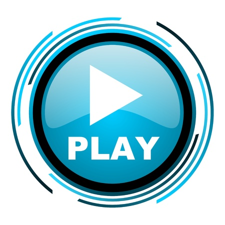 play blue circle glossy icon