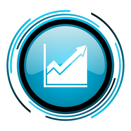 histogram: histogram blue circle glossy icon  Stock Photo