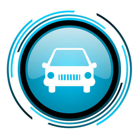 car blue circle glossy icon  photo