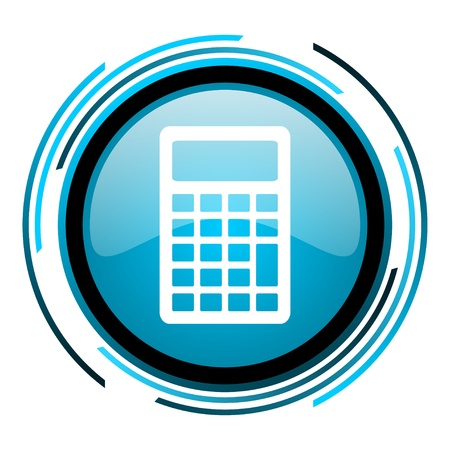 calculator blue circle glossy icon