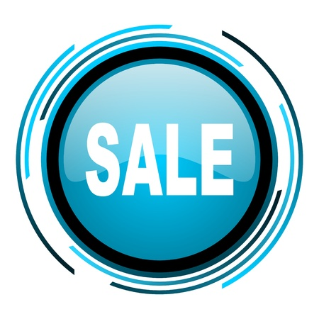sale blue circle glossy icon  photo