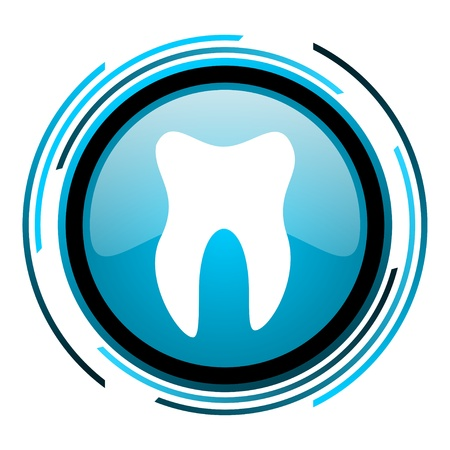 tooth blue circle glossy icon  photo
